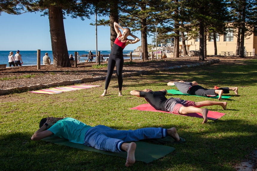 Collaroy beach yoga class - Men health